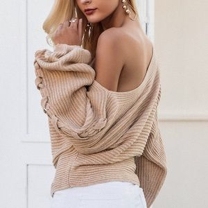 Sweaters - NEW! Off Shoulder Cross Braided Loose Knit Sweater